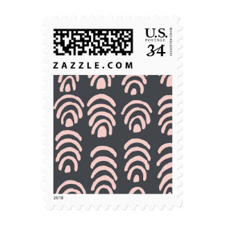 Pink X Grey Rounded Brackets Postage Stamp