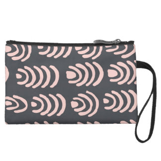 Pink X Grey Rounded Brackets Wristlet Purse