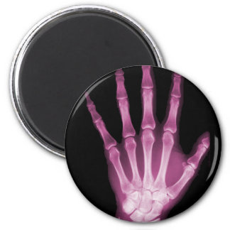 Pink X-ray Skeleton Hand 2 Inch Round Magnet