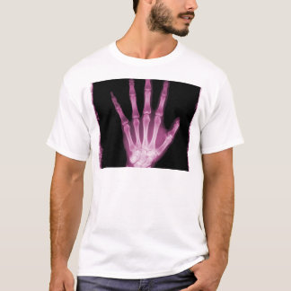 Pink X-ray Skeleton Hand T-Shirt
