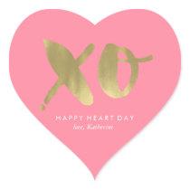 """Pink """"XO"""" Valentines Day Heart Sticker"""