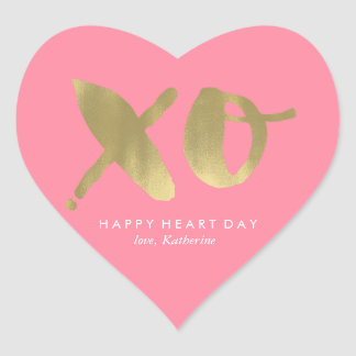 "Pink ""XO"" Valentines Day Heart Sticker"