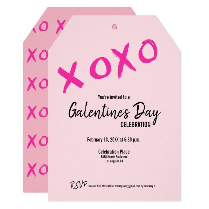Pink Xoxo Cute Galentine S Day Party Invitation Zazzle Com