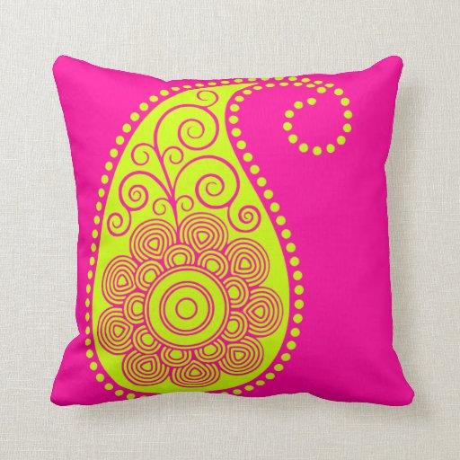 ~Pink y amarillo abstractos de Paisley Almohada