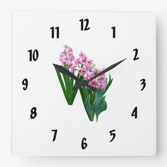 Pink yacinths All in a Row Square Wall Clock