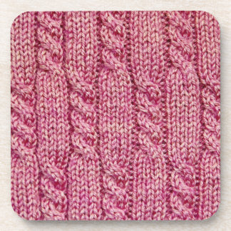 Pink Yarn Cabled Knit Drink Coaster