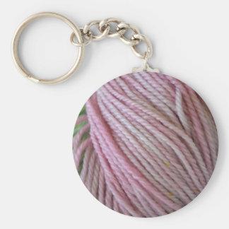 Pink Yarn Keychain