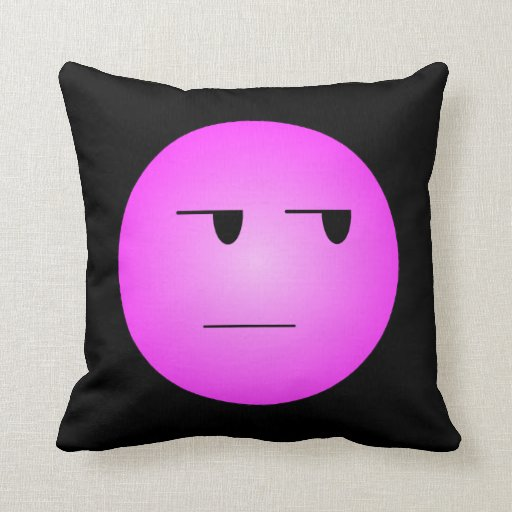 Pink Yeah Right Smiley Pillow