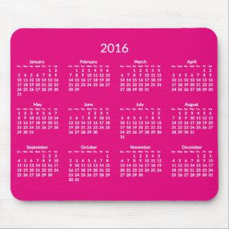 Pink Yearly 2016 Calendar Mouse Pads