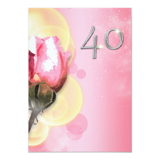 Pink yellow 40th floral birthday card
