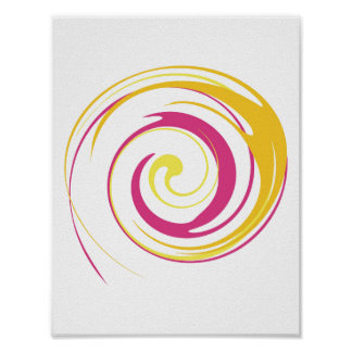 Pink Yellow Abstract Swirl Poster