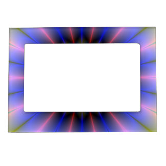 Pink Yellow and Blue Flower Picture Frame Magnet