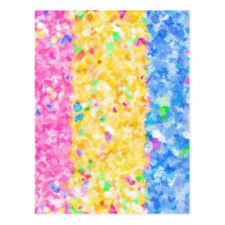 Pink, Yellow and Blue Flowery Background Postcard