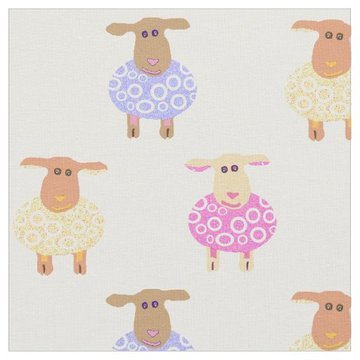Pink yellow and blue lambs on white nursery print fabric for Yellow nursery fabric