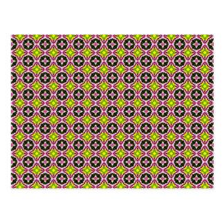 Pink Yellow and Green Batik Pattern Postcard