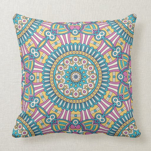 Pink yellow and green kaleidoscope flowers throw pillow Zazzle