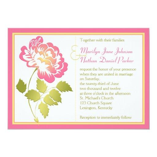 Pink, Yellow, and Green Peony Wedding Invitation