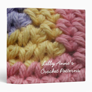 Pink Yellow and Lavender Crochet Personalized Binder