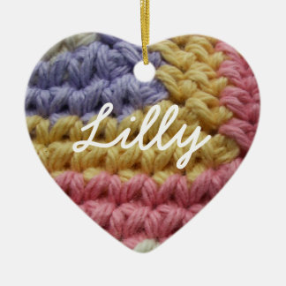 Pink, Yellow, and Lavender Crochet Stitches Double-Sided Heart Ceramic Christmas Ornament