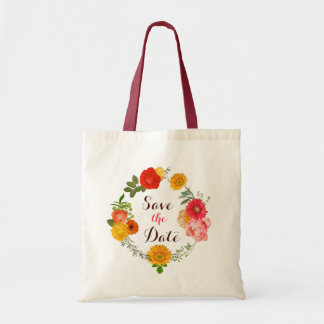 Pink, Yellow And Red Wreath Of Flowers Tote Bag