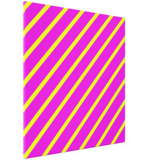 Pink Yellow Angled Stripes Wrapped Canvas