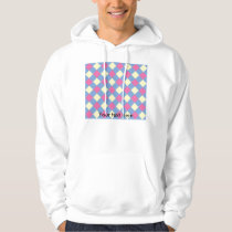 Pink yellow argyle pattern on blue hoodie