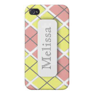 Pink Yellow Argyle Personalized iPhone 4 Case
