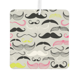 Pink, Yellow & Black Mustaches Car Air Freshener