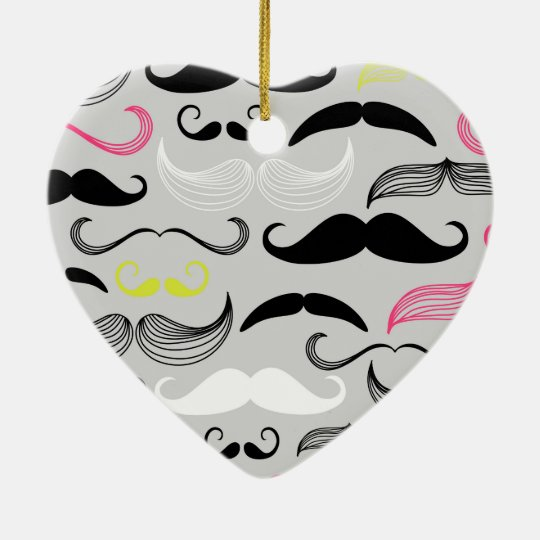 Pink, Yellow & Black Mustaches Ceramic Ornament