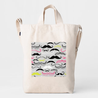 Pink, Yellow & Black Mustaches Duck Bag