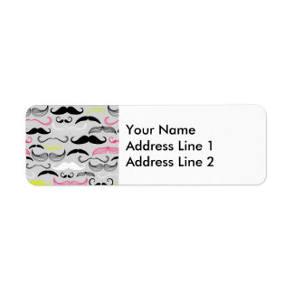 Pink, Yellow & Black Mustaches Label