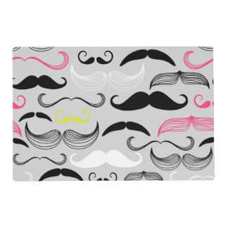 Pink, Yellow & Black Mustaches Placemat