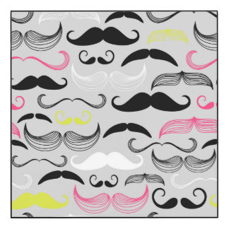 Pink, Yellow & Black Mustaches Wood Wall Art