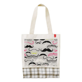 Pink, Yellow & Black Mustaches Zazzle HEART Tote Bag