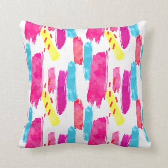 PInk Yellow Blue Abstract Paint Strokes | Throw Pillow