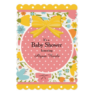 pink and yellow baby shower invitations announcements zazzle