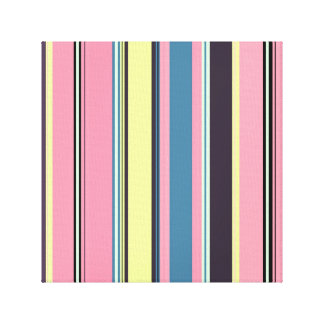 Pink Yellow Blue Purple Vertical Stripe Pattern Canvas Print