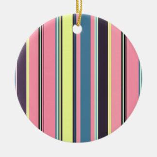 Pink Yellow Blue Purple Vertical Stripe Pattern Ceramic Ornament