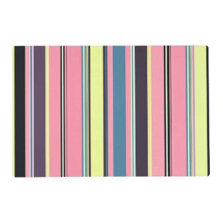 Pink Yellow Blue Purple Vertical Stripe Pattern Placemat