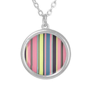 Pink Yellow Blue Purple Vertical Stripe Pattern Silver Plated Necklace