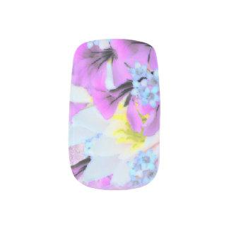 Pink, Yellow, Blue & White Flower Bouquet Minx ® Nail Art