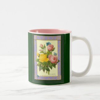 Pink Yellow Botanical Roses Coffee Mug
