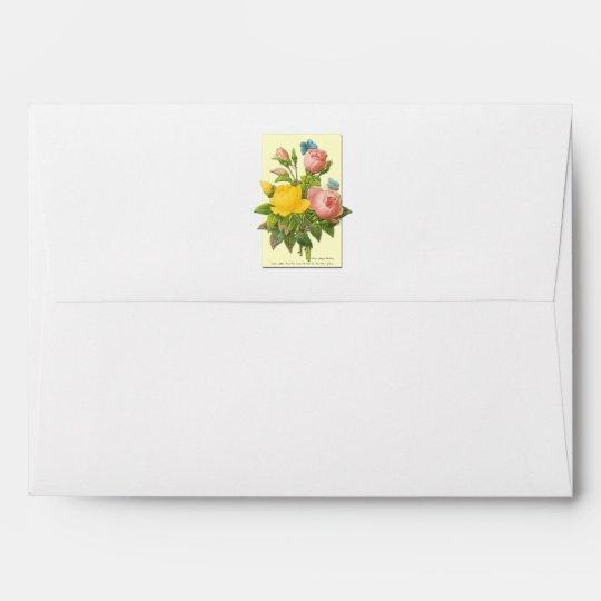 Pink Yellow Botanical Roses Envelope