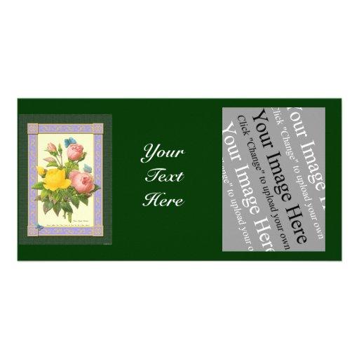 Pink Yellow Botanical Roses Photo Card