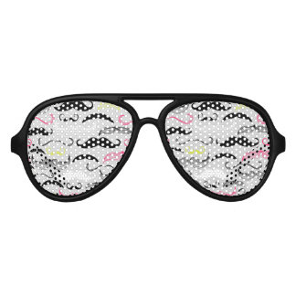 Pink, Yellow & Brown Mustaches Aviator Sunglasses