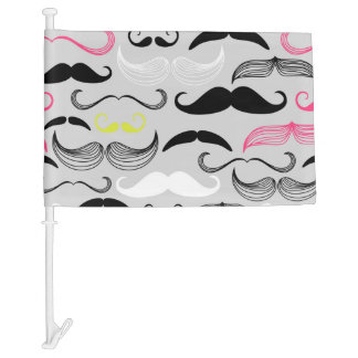 Pink, Yellow & Brown Mustaches Car Flag