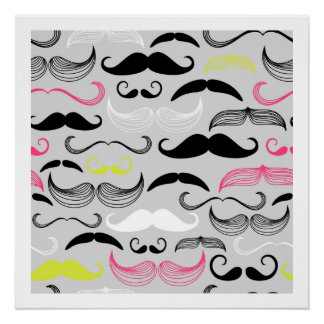 Pink, Yellow & Brown Mustaches Poster