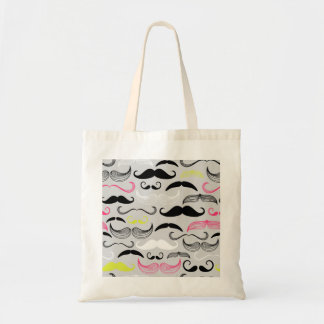 Pink, Yellow & Brown Mustaches Tote Bag