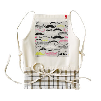 Pink, Yellow & Brown Mustaches Zazzle HEART Apron
