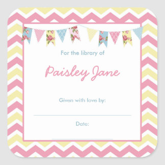 Pink Yellow Bunting Baby Shower bookplates Square Sticker